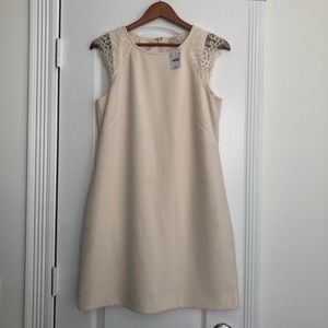 J. Crew cream shift dress with lace
